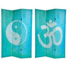 Canvas Double-sided 6-foot Yin-yang/ Om Room Divider (China) | Overstock.com Shopping - The Best Deals on Decorative Screens