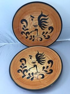 """3 VINTAGE PENNSBURY POTTERY ROOSTER 9 3/4"""" PLATES"""