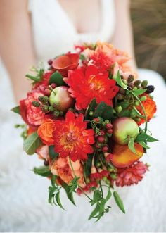 Mix it up and adorn your DIY wedding bouquet with fresh fruit. You'll be the best uniquely accessorized bride around!