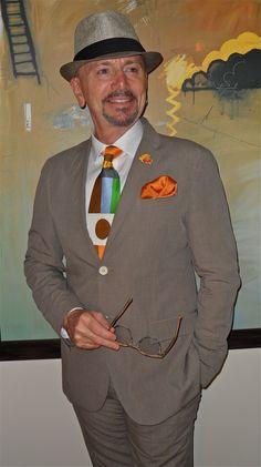 Corneliani cotton suit, a fabulous new Gene Meyer tie, London Fog hat…