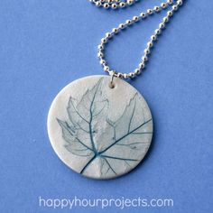 Leaf-Imprinted Polymer Clay Necklace at happyhourprojects.com