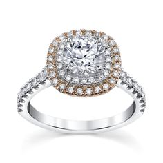 14K Two-Tone Double Halo Diamond Engagement Ring Setting 1/2 Cttw Tie A Little Knot Collection