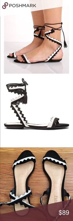 Schutz Sandals Brand new, never worn. Zig zagging lace up leather straps detail these super cute Schutz sandals. Tassels on ties. SCHUTZ Shoes Sandals