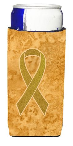 Gold Ribbon for Childhood Cancers Awareness Ultra Beverage Insulators for slim cans AN1209MUK
