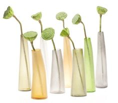 """Medium Flow Bud Vases From Tall Back Row Left to Right (Olivine, Snow, Amber, Peridot (Light Green), Grey) Dimensions (in):12"""" x 3"""" By Chive - Chive has consist"""