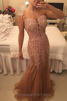 Pink Prom Dresses, Scoop Neck Prom Dress, Mermaid Evening Gowns, Tulle Party Dresses, Long Formal Dresses