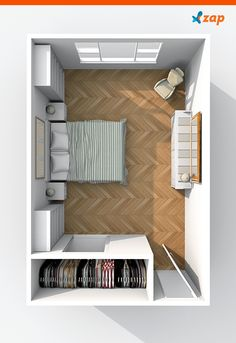 Small bedroom decor: check out 31 must-see tips - 31 incredible tips for decorating a small room. Bedroom Closet Design, Room Ideas Bedroom, Small Room Bedroom, Home Decor Bedroom, Small Bedroom With Wardrobe, Square Bedroom Ideas, Small Bedroom Storage, Closet Small, Trendy Bedroom