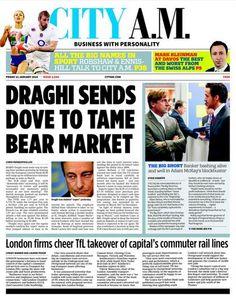 """CITY AM: Draghi sends dove to tame bear market The Big Short, January 2016, Marketing, City, Business, Friday, Bear, Cities, Bears"