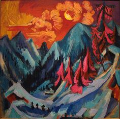 Landscape. Ernst Ludwig Kirchner (1880 – 1938) was a German expressionist painter and printmaker and one of the founders of  Die Brücke, a key group leading to the foundation of Expressionism in 20th-century art.