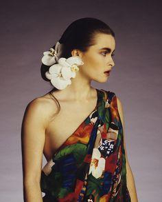 Helena Bonham Carter In British Vogue, 1987- gorgeous flowers in hair for wedding