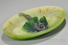 alter/H. Berge Pate-de-Verre Fish Dish Pate-de-verre Nancy, France Decorated with a large dark green fish surrounded by seaweed in an oval dappled light green dish, signed in the mold A Walter Nancy and Berge SC, ht. 1 3/4, dia. 9 1/2 in.