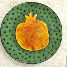 Тарелки ручной работы. Ярмарка Мастеров - ручная работа. Купить Керамическая декоративная тарелочка Гранат желтый. Handmade. Желтый, кухня