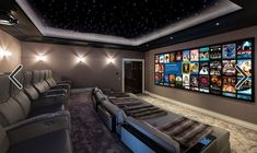 30 The Media Room Ideas Theatres Home Theaters Diaries 58 Home Theater Room Design, Movie Theater Rooms, Home Cinema Room, Home Theater Decor, Home Theater Seating, Home Theatre, Theatre Rooms, Theater Seats, Luxury Homes Dream Houses