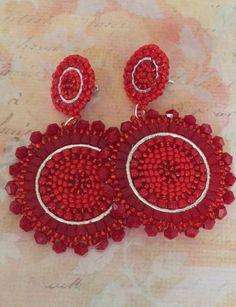 Seed Bead Earrings, Beaded Earrings, Etsy Earrings, Earrings Handmade, Crochet Earrings, Seed Beads, Embroidery Hearts, Beaded Embroidery, Flower Bag