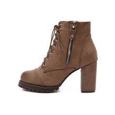 Brown Lace Up Zipper Chunky Boots ($30) ❤ liked on Polyvore featuring shoes, boots, lace front boots, lace up zipper boots, brown lace up boots, lacing boots and laced up boots