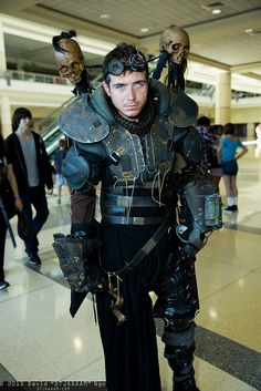 Dystopian Post-Apocalyptic Mecha Nomad Futuristic for cosplay ideas in a pretty subdued hallway.  :}