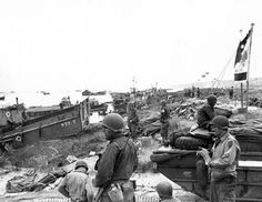 Scene on Omaha Beach, soon after the landings there; June 1944