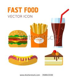 Fast food icons with french fries, hamburger, hotdog, cheesecake and drink in a glass with a straw. Vector illustration in flat design