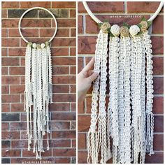 Handmade large macrame dream catcher wall hanging made from 100% cotton rope on a stainless steel hoop with neutral toned burlap roses. Unique decor that vibes well in a boho or shabby chic styled home, dorm or nursery - this wall art is ready to ship and sure to please!