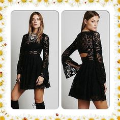 FREE PEOPLE LACE LOVERS DRESS NWT$148 SIZE 8 Laser cut lace fit and flare dress with wide bell sleeves. Skirt and bust is lined, but sheer on sleeves, waistband, and neckline. Open back. Hidden side zip. *100% Polyester *Hand Wash Cold *Import Free People Dresses
