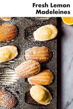 Fresh Lemon Madeleines from The Cookie Book by Rebecca Firth Lemon Recipes, Sweet Recipes, Baking Recipes, Cookie Recipes, Dessert Recipes, Just Desserts, Delicious Desserts, Yummy Food, Lemon Madeleine Recipe