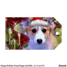 Happy Holiday Corgi Puppy with Ribbon Gift Tags
