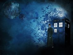 10th Doctor with Tardis, My first attempt at fan art.