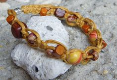 Yellow goldenrod and orange hemp bracelet by MatchingTreeDesigns