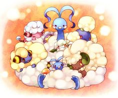 Fluffy Pokemon: Flaaffy, Mareep,Drifloon, Altaria, Cottonee, Swablu, Whimsicott, and Jumpluff.  Drawn by くお @ pixiv