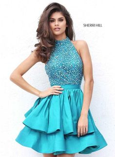 Bead Halter Sherri Hill 50711 Homecoming Dresses with Layered Skirt Cheap