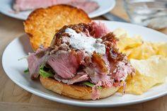 Roast Beef Sandwich with Caramelized Onions and Grainy Mustard, Horseradish Mayo #recipe