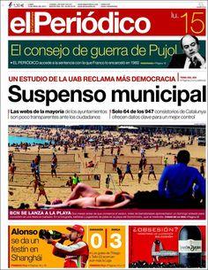 Los Titulares y Portadas de Noticias Destacadas Españolas del 15 de Abril de 2013 del Diario El Periódico ¿Que le parecio esta Portada de este Diario Español?