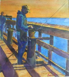"""""""Hoping for the Big One"""" watercolor by Sonia Hunt is featured in Gallery One's October show. Click http://capegazette.villagesoup.com/p/color-and-more-color-oct-2-through-nov-5-at-gallery-one/1246593 to read exhibit article: Color and More Color Oct. 2 through Nov. 5 at Gallery One"""