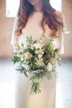 Snapdragon, Eucalyptus, Rose, and Dusty Miller #bouquet.   Photography: Dani Stephenson - danistephensonphotography.blogspot.com/  Read More: http://www.stylemepretty.com/2014/07/25/romantic-and-rustic-photo-shoot-at-the-baraboo-arts-center/