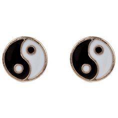 Accessorize Ying Yang Stud Earrings found on Polyvore
