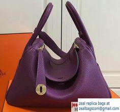 1eced6ddb82 Hermes Leather Lindy 26 30cm Bag Purple