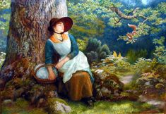 "Painting of the Day! Arthur Hughes (1832-1915) ""Asleep in the Woods"" Oil on Canvas To see more works by this artist please visit us at: http://www.artrenewal.org/pages/artwork.php?artworkid=5525&size=large"