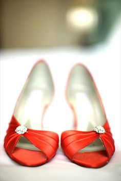 """burnt orange shoes for the bridesmaids. not too tall, or too """"old."""" This with a gray dress I think will be really nice. Orange Wedding Inspiration !"""