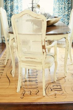 I love the shabby chic dining room table & chairs! The stenciled rug is pretty neat too! Shabby Chic Chairs, Shabby Chic Kitchen, Shabby Chic Furniture, Dining Room Chairs, Dining Room Furniture, Table And Chairs, Dining Rooms, Dining Set, Dining Table