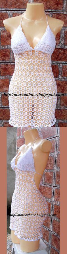 Crochet Halter Sun Dress.   Marcinha crochê: SAÍDA DE PRAIA EM CROCHÊ