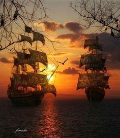 By Feniche ~~ Pirate Art, Pirate Ships, Bateau Pirate, Old Sailing Ships, Ship Drawing, Ship Paintings, Sail Away, Ship Art, Tall Ships