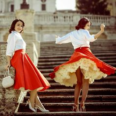 Our Sateen Circle Skirts are so fabulous, you will feel like a real pin-up goddess! 😍 Tiny waist and a full skirt promise for an unforgettable night of dancing. Circle Skirt Outfits, Full Circle Skirts, Full Skirts, Fifties Fashion, Vintage Fashion, Retro Fashion, Vintage Style, Twirl Skirt, Dress Skirt