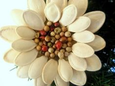 DIY Pumpkin Seed Flower Ornament for decoration (Tutorial) Diy Pumpkin Seeds, Pumpkin Seed Crafts, Flower Ornaments, Diy Christmas Ornaments, Christmas Decorations, Holiday Decor, Hanging Flowers, Diy Flowers, Seed Art