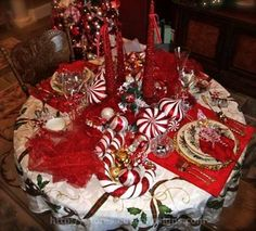 Candy Cane Tablescape