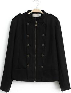Black Long Sleeve Epaulet Zipper Jacket - Sheinside.com