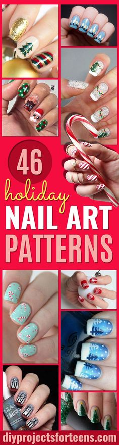 Cool DIY Nail Art Designs and Patterns for Christmas and Holidays -Do It Yourself Manicure Ideas With Christmas Trees, Candy Canes, Snowflakes and Glittery Designs for Holiday Nails - Step by Step Tutorials and Instructions http://diyprojectsforteens.com/holiday-nail-art-patterns/