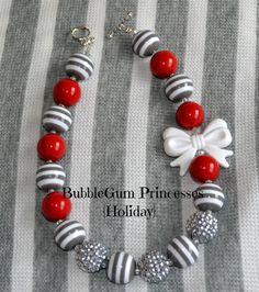 Chunky BubbleGum Necklace HOLIDAY Gray Stripe 20 MM beads with Platinum Sparkle white BOW Xmas girl toddler Jewelry children on Etsy, $18.00