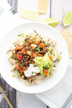 DIY Vegan Burrito Bowl - Rice, Beans, Avocado Lime Sauce and Vegan Sour Cream. Vegan.