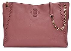 Tory Burch Marion Center-Zip Tote - Directly from Tory Burch - A graphic tonal logo meets intricate whipstitched detailing. Our Marion Center-Zip Tote is made of super-soft pebbled leather, with an adjustable strap that can be worn two ways: doubled up or long and swingy. Featuring several interior pockets to keep essentials organized - including a convenient middle compartment that can fit a phone and a wallet - it's a roomy style that can carry you from work to weekend, effortlessly. Tory…