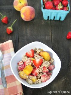 Strawberry & Peach Quinoa Breakfast - Queen of Quinoa | Gluten-free + Quinoa Recipes